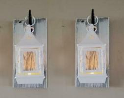 """Set of Two 11"""" Rustic Wall Mounted Lantern Sconces with 7 1/"""