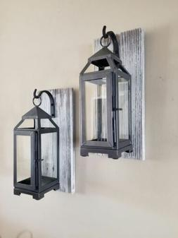 """Set of Two 13"""" Rustic Wall Mounted Lantern Sconces with 11"""""""