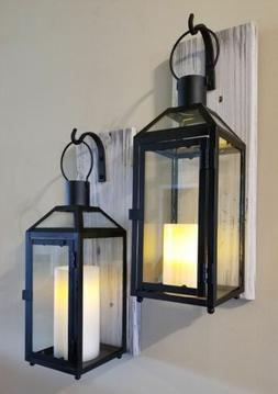 """Set of Two 17"""" Rustic Wall Mounted Lantern Sconces with Blac"""