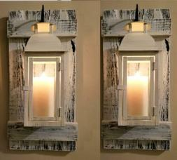 """Set of Two 20"""" Rustic Wall Mounted Lantern Sconces with 15"""""""