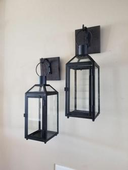"""Set of Two 5x5 Rustic Wall Mounted Lantern Sconces with 15"""""""