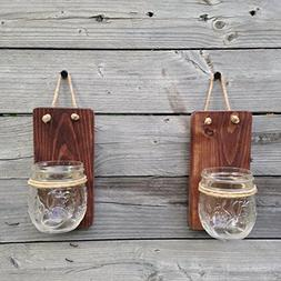 Set of Two Tennessee Wicks Small Mason Jar Wall Sconce with