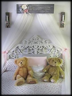 Shabby Chic Princess Bed Crown Canopy Crib Baby Nursery Deco