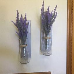 Silver Wood Mason Jar Sconce Wall Vase, Rustic Set of 2 Maso