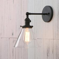 Permo Single Sconce with Funnel Flared Glass Clear Glass Sha