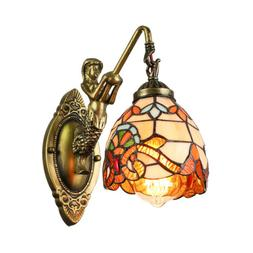 Stained Glass Tiffany Style LED Wall Sconce Light Lamp Bedro