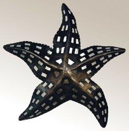 Starfish Wall Sconce, Tin, Hand Punched, Lighted, Nautical,