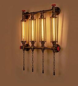 Steampunk Pipe Caged Sconce Chain E27 Light Wall Lamp Valve