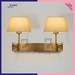 Swing Arm BRASS BISTRO Wall Light Double PETITE CANDLESTICK