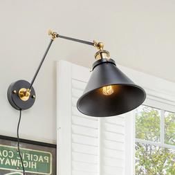 LNC Swing Arm Wall Lamp Adjustable Wall Sconces Plug-in Scon