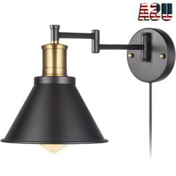Swing Arm Wall Lamp Plug-In Cord Industrial Wall Sconce Bron