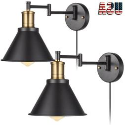 Swing Arm Wall Lamp Plug-In Cord Industrial Wall Sconce back