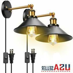 Swing Arm Wall Lights Plug In Set of 2 Lamps Metal Wall Scon