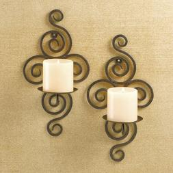Swirl Wrought Iron Candle Sconce Pair