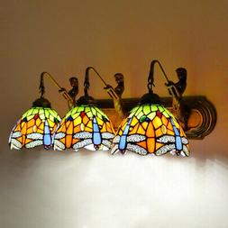 Tiffany Bathroom Vanity Lighting Bronze Stained Glass Wall S