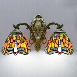 Tiffany Style Stained Glass Sconce Wall Lamp Indoors Double