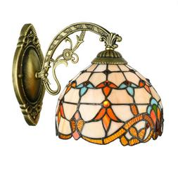 Tiffany Style Wall Sconce Stained Glass Shade Wall Lamp Indo