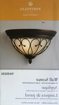 "PORTFOLIO ""Traditional Style"" Wall Sconce - Amber Glass Shad"