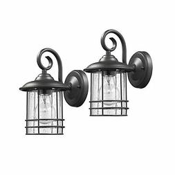 """Transitional 1 Light Black Outdoor Wall Sconce 10"""" Height, 2"""