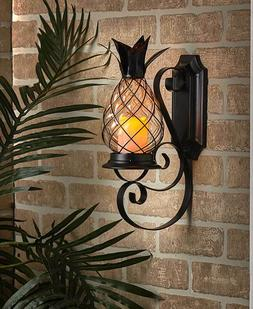Tropical Pineapple Flickering Candle Wall Sconce Lamp with T