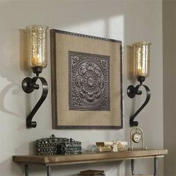Tuscan Scrolled Bronze Metal Amber Glass Candle Wall Sconce