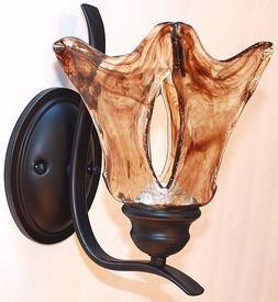 Unique Bronze Finish Art Glass Wall Sconce Rustic Cabin Fixt