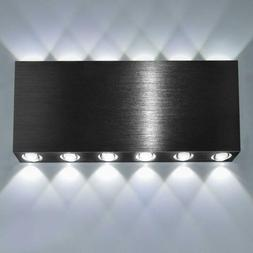 Lightess Up Down Wall Sconce Indoor Black 24W Modern Square