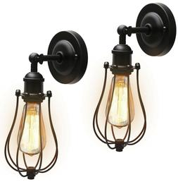 JACKYLED Upgrade Wire Cage Wall Sconces with Bulbs UL Listed
