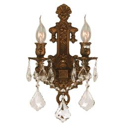 USA Versailles 2 Light French Gold Finish Crystal Wall Sconc