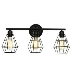 3-Light Vanity Lights Industrial Bathroom Light, Black Metal