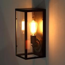 Vintage Black Outdoor LED Wall Sconce Light Clear Glass Shad