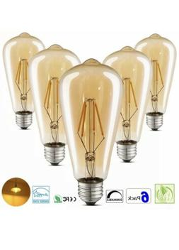 6 PACK LED Vintage Edison Light Bulbs 4W Amber Glass ST64 Di