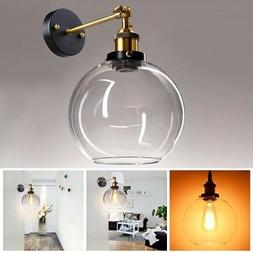 "Vintage Industrial 7.9"" Ball Shape Glass Light Wall Sconce E"