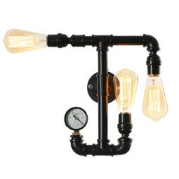 Vintage Industrial Iron Water Pipe Steampunk Wall Lamp Sconc