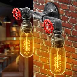 Vintage Industrial Iron Water Pipe Wall Light Steampunk Scon
