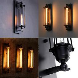 Vintage Industrial Metal Cage Wall Lamp Sconce Light Edison