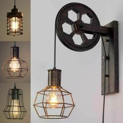 Vintage Industrial Wall Sconce Socket Wall Lamp Lift Pulley