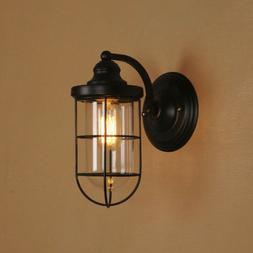 Vintage Wall Sconce Light Clear Glass Shade Wired Cage Lamp