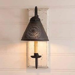 Vintage White Crestwood Wood Wall Sconce with Tin Shade - Ir