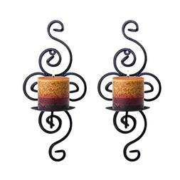 Pasutewel Wall Candle Sconces,Set of 2 Elegant Swirling Iron