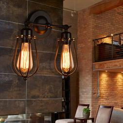Wall Lamp Light Wire Caged Vintage Sconce Industrial Edison