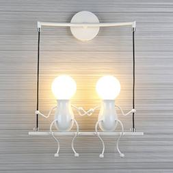 LED Wall Light Fixtures Creative Cartoon Double Little Peopl