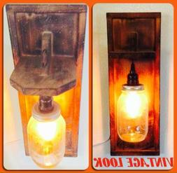 Handmade Wall Light Wood And Mason Jar Glass Wooden Sconce F