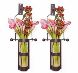 Wall Mount Hanging Glass Cylinder Vase Set with Metal Cradle