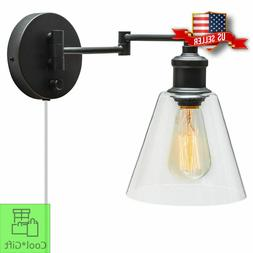 Wall Mount Lamp Plug In Sconce Industrial Light Fixtures Bed