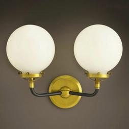 Wall Mount Lamp Shade Brass Glass 2 Light Bedside Bathroom F