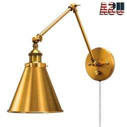 Wall Sconce Lamp Plug in Cord with Switch Brass Wall Light F