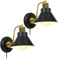Wall Sconce Pair Light Fixture Vintage Industrial Brass Blac