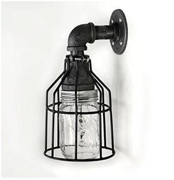Industrial Wall Sconce Pipe Lighting w/ Mason Jar for Kitche