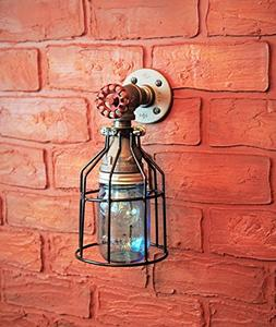 Industrial Wall Sconce Pipe Lighting w/ Blue Turquoise Mason
